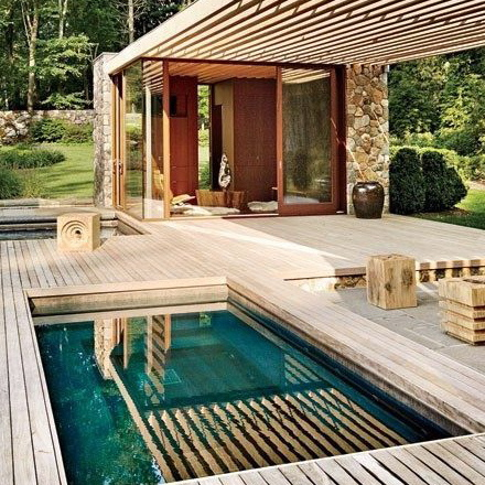 maison bois, piscine, deck, nature..._2_2